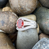 Fire Opal and White Topaz ring set in 925 Sterling Silver