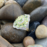 Gold Finish Peridot and White Topaz ring set in 925 Sterling Silver