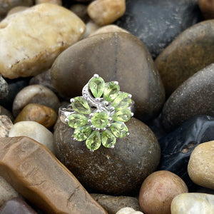 Peridot and White Topaz ring set in 925 Sterling Silver