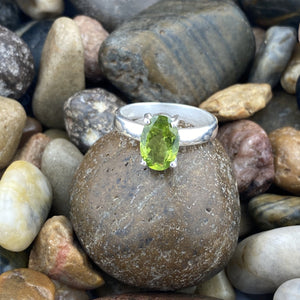 Peridot ring set in 925 Sterling Silver