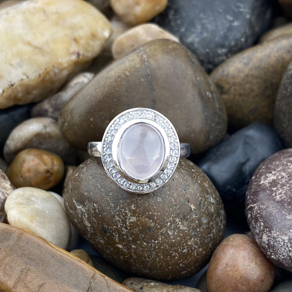 Rose Quartz and White Topaz ring set in 925 Sterling Silver