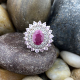 Ruby and White Topaz ring set in 925 Sterling Silver