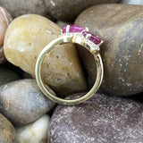 Gold Finish Ruby and White Topaz ring set in 925 Sterling Silver