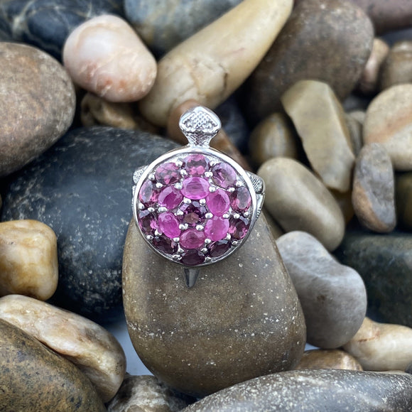 Ruby and Rhodolite Garnet ring set in 925 Sterling Silver