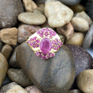 Gold Finish Ruby ring set in 925 Sterling Silver