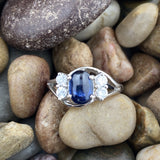 Sapphire and White Topaz ring set in 925 Sterling Silver