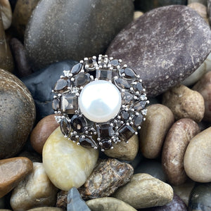 Smokey Quartz and Pearl ring set in 925 Sterling Silver