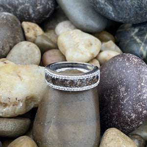 Smokey Quartz and White Topaz ring set in 925 Sterling Silver