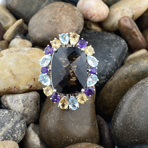 Smokey Quartz, Blue Topaz, Amethyst and Citrine ring set in 925 Sterling Silver