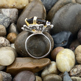 Gold Finish Smokey Quartz and Iolite ring set in 925 Sterling Silver