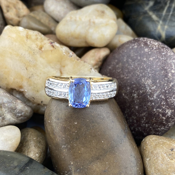 Gold Finish Tanzanite and Zircon ring set in 925 Sterling Silver