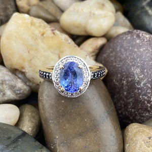 Gold Finish Tanzanite, White Topaz and Spinel ring set in 925 Sterling Silver