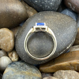 14K Gold Vermeil Finish Tanzanite and White Topaz ring set in 925 Sterling Silver