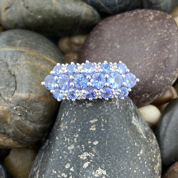 Tanzanite and White Topaz ring set in 925 Sterling Silver