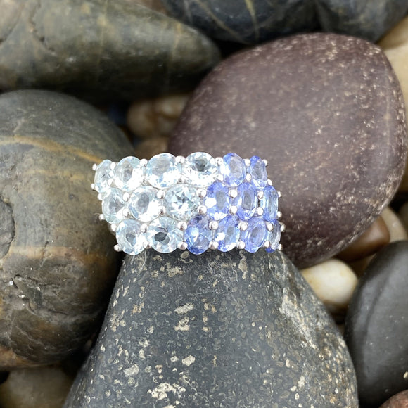 Tanzanite and Blue Topaz ring set in 925 Sterling Silver