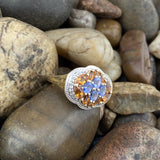 Gold Finish Tanzanite, White Topaz and Citrine ring set in 925 Sterling Silver