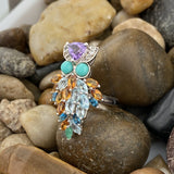Turquoise, Blue Topaz, White Topaz, Amethyst, Citrine and Emerald ring set in 925 Sterling Silver