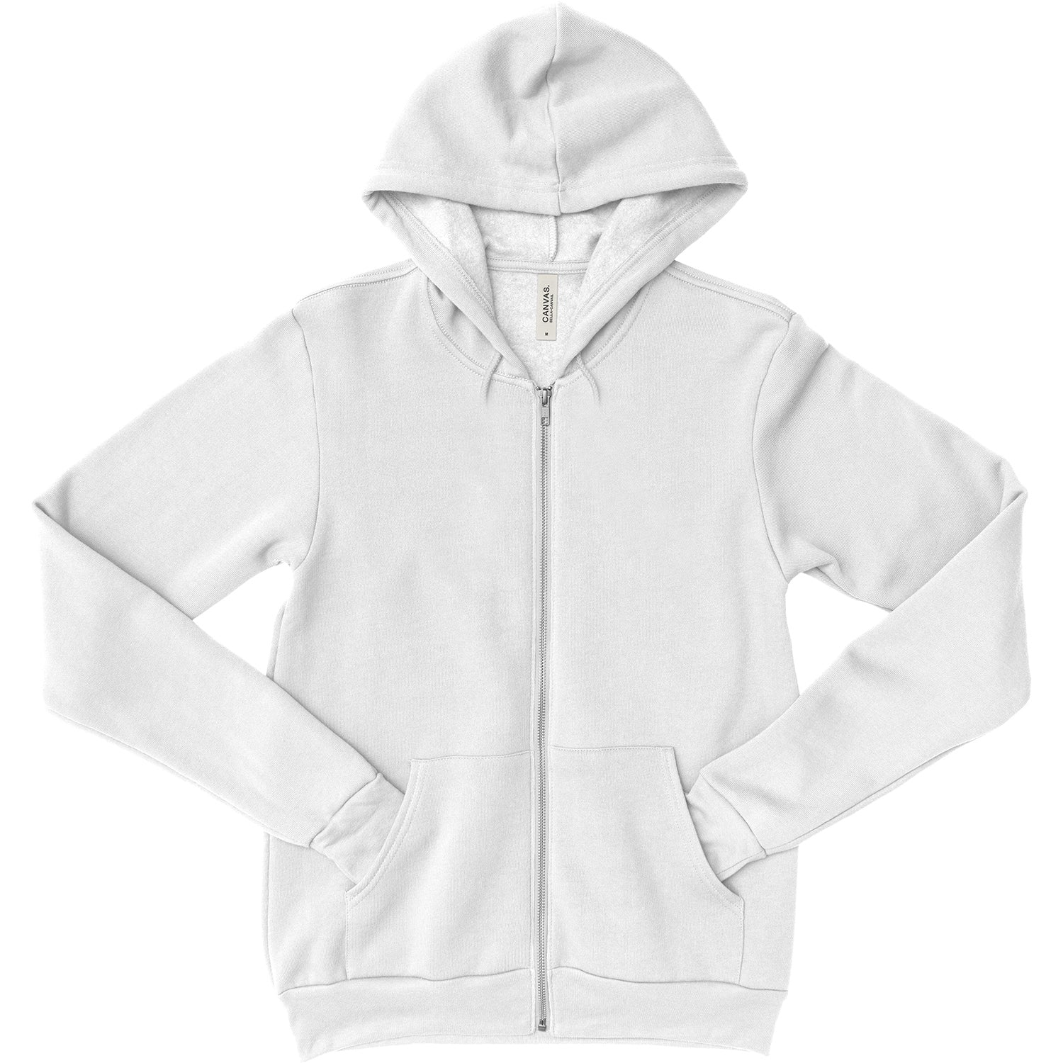 Unisex Zipper Dual Blend Fleece Hoodie - White