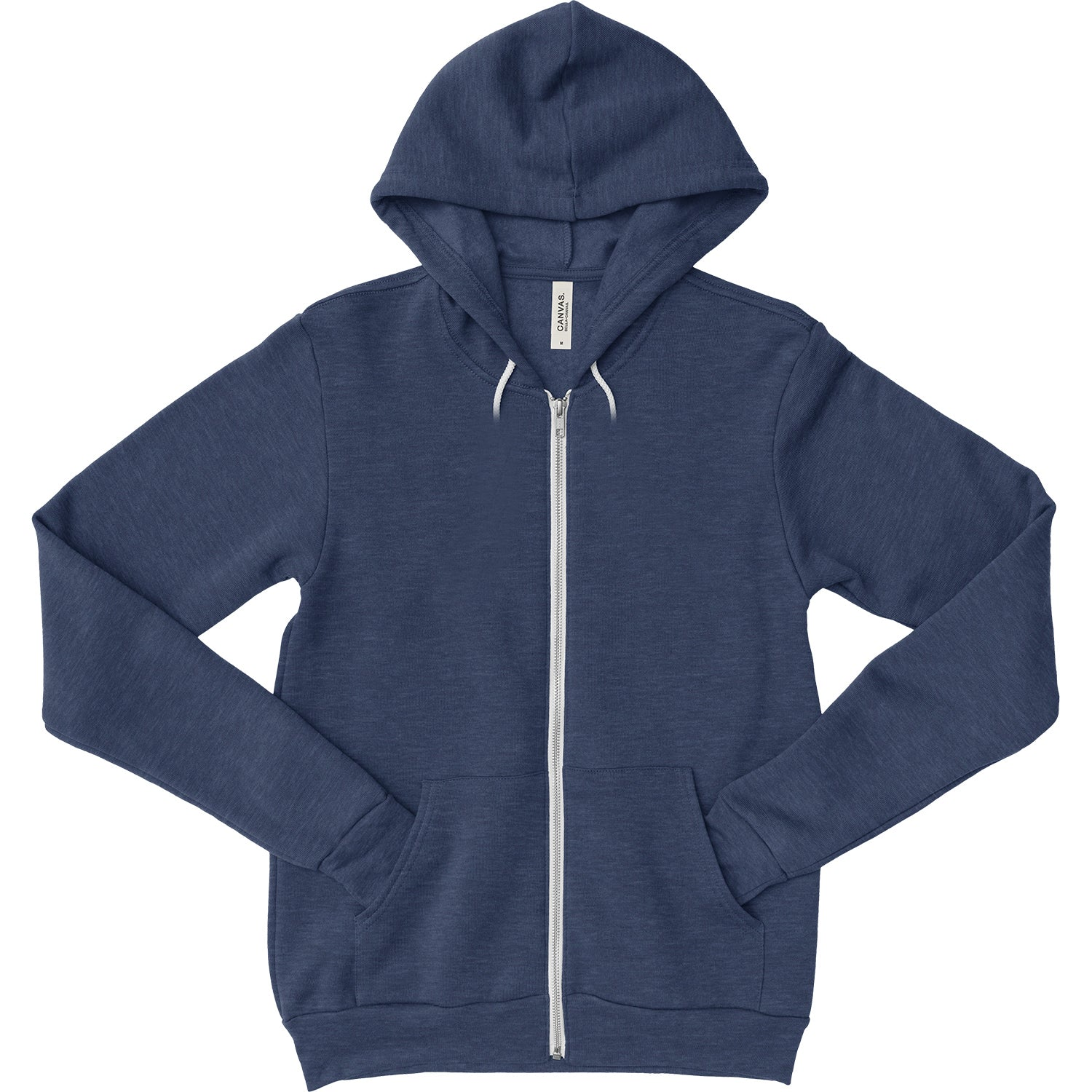 Unisex Zipper Dual Blend Fleece Hoodie - Heather Navy