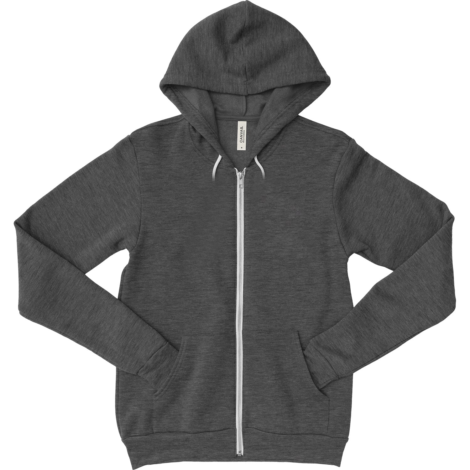 Unisex Zipper Dual Blend Fleece Hoodie - Dark Grey Heather