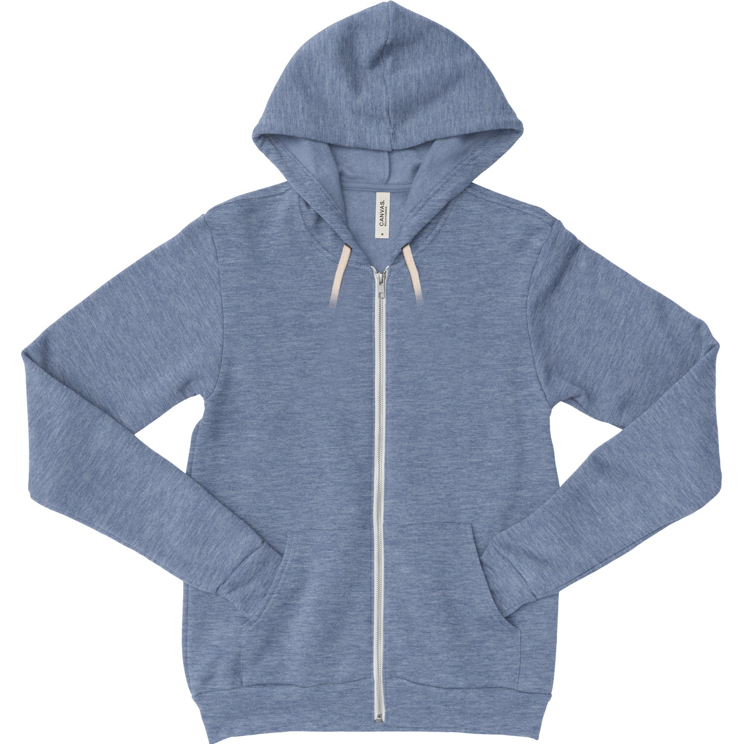 Unisex Zipper Tri Blend Fleece Hoodie - Blue Triblend