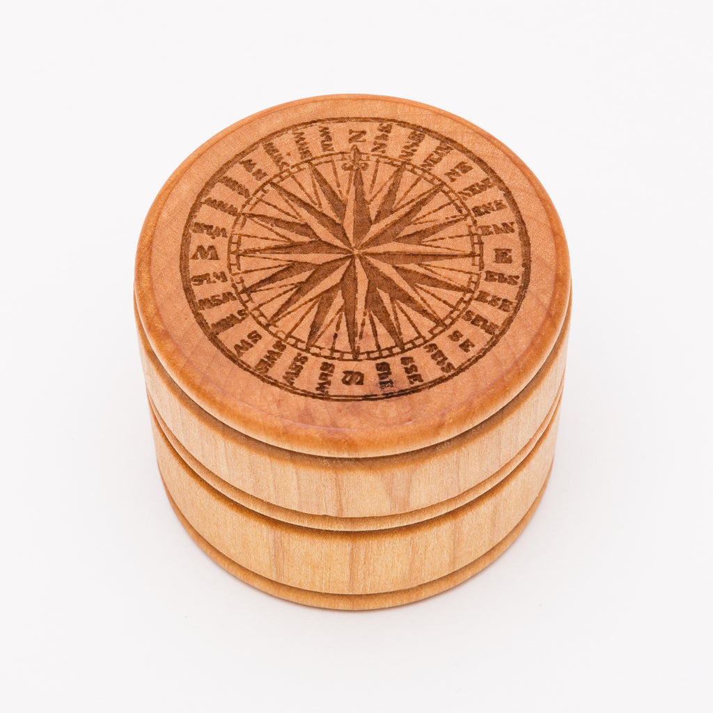 Compass Rose Laser Cut Round Wood Box from Create Laser Arts