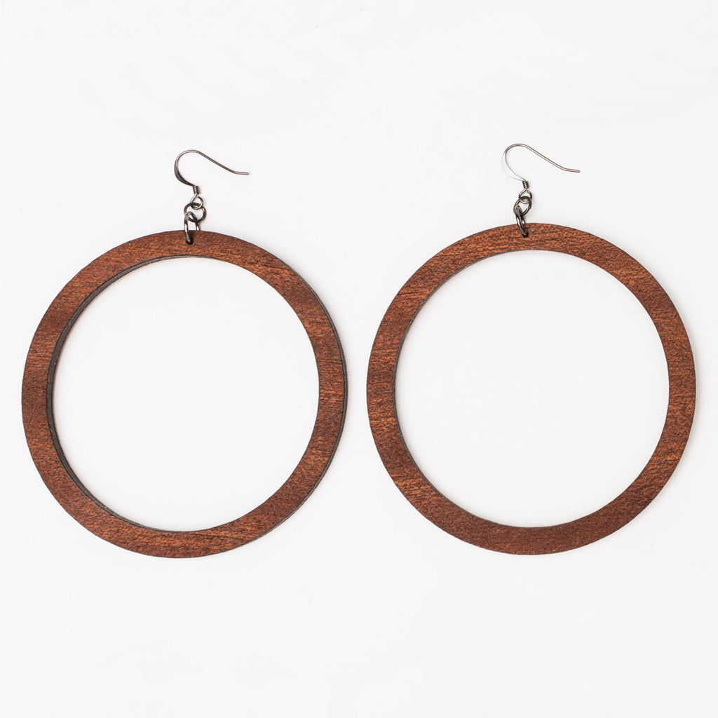 Round laser cut hoop earrings from Create Laser Arts in Grand size