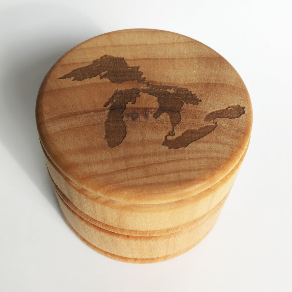 Great Lakes Laser Etched Round Wood Box