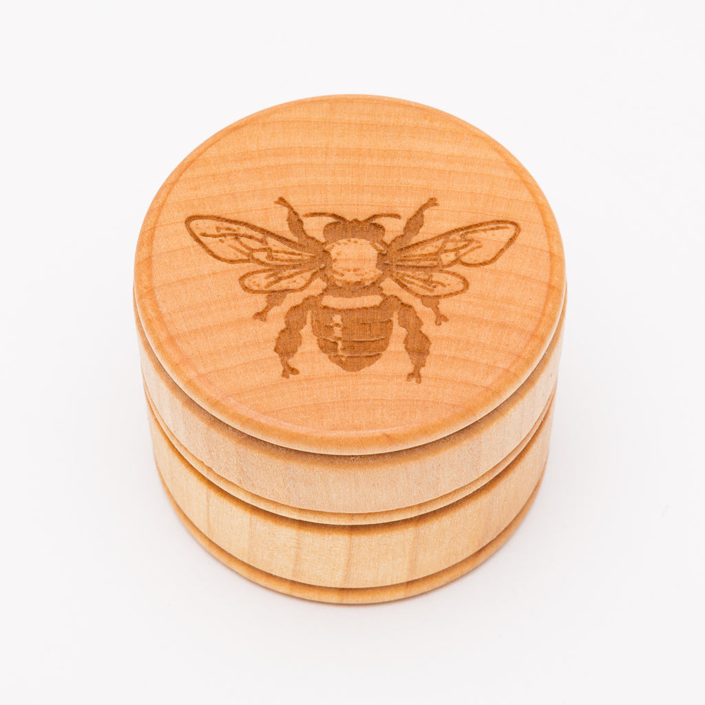 Honeybee Round Laser Cut Wood Box from Create Laser Arts