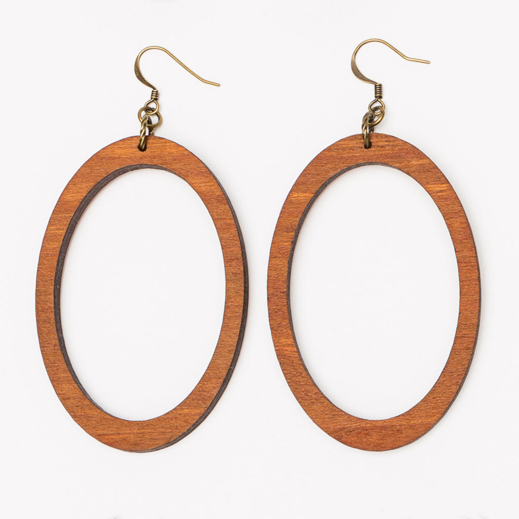 Large oval laser cut wood hoop earrings from Create Laser Arts