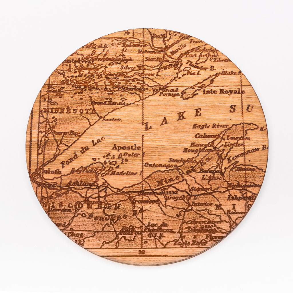 Lake Superior Map Coaster