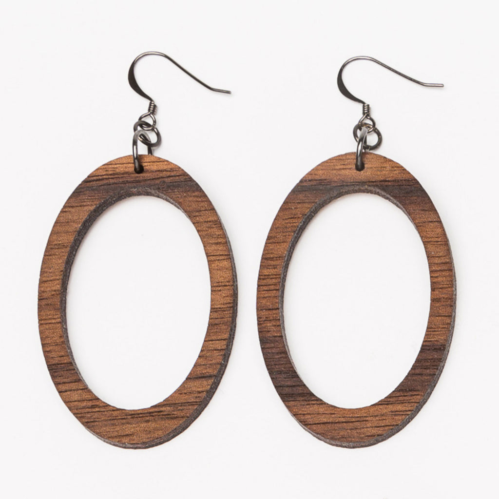 Medium oval wood laser cut hoop earrings from Create Laser Arts