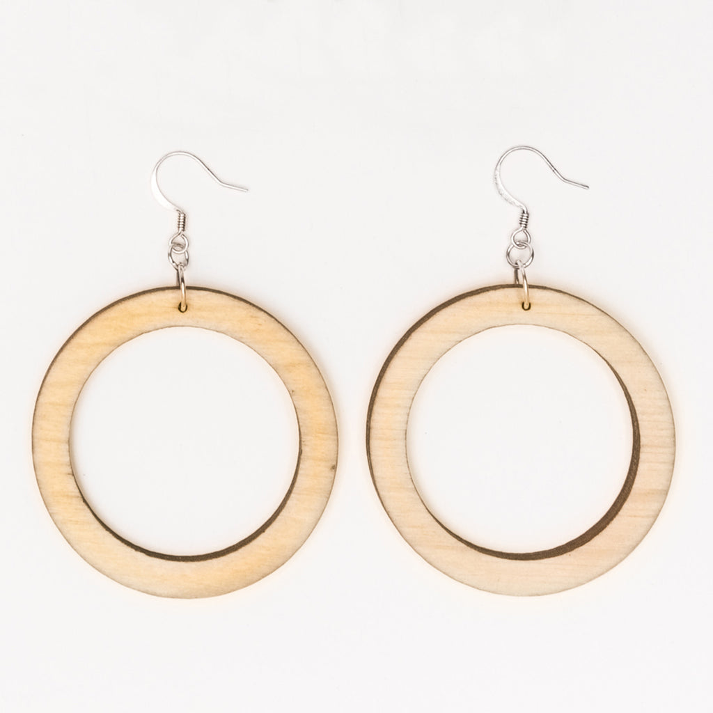 Medium round wood laser cut hoop earrings from Create Laser Arts