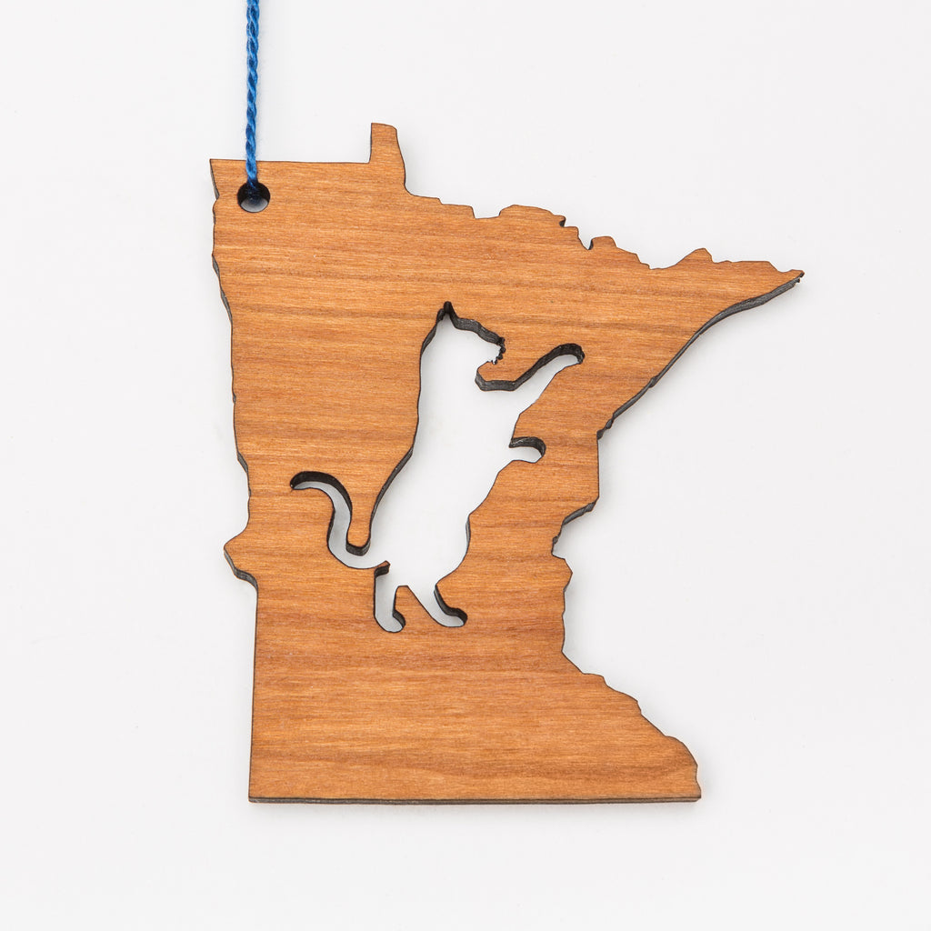 Laser cut wood ornament or magnet in the shape of Minnesota with a cat cut out in the center