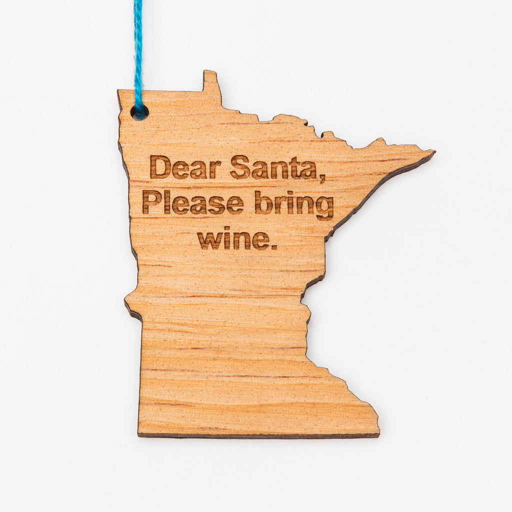 Dear Santa... Wine - MN Ornament or Magnet