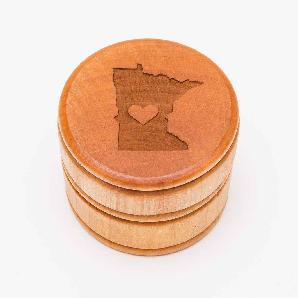 MN Love Minnesota Round Wood Box from Create Laser Arts