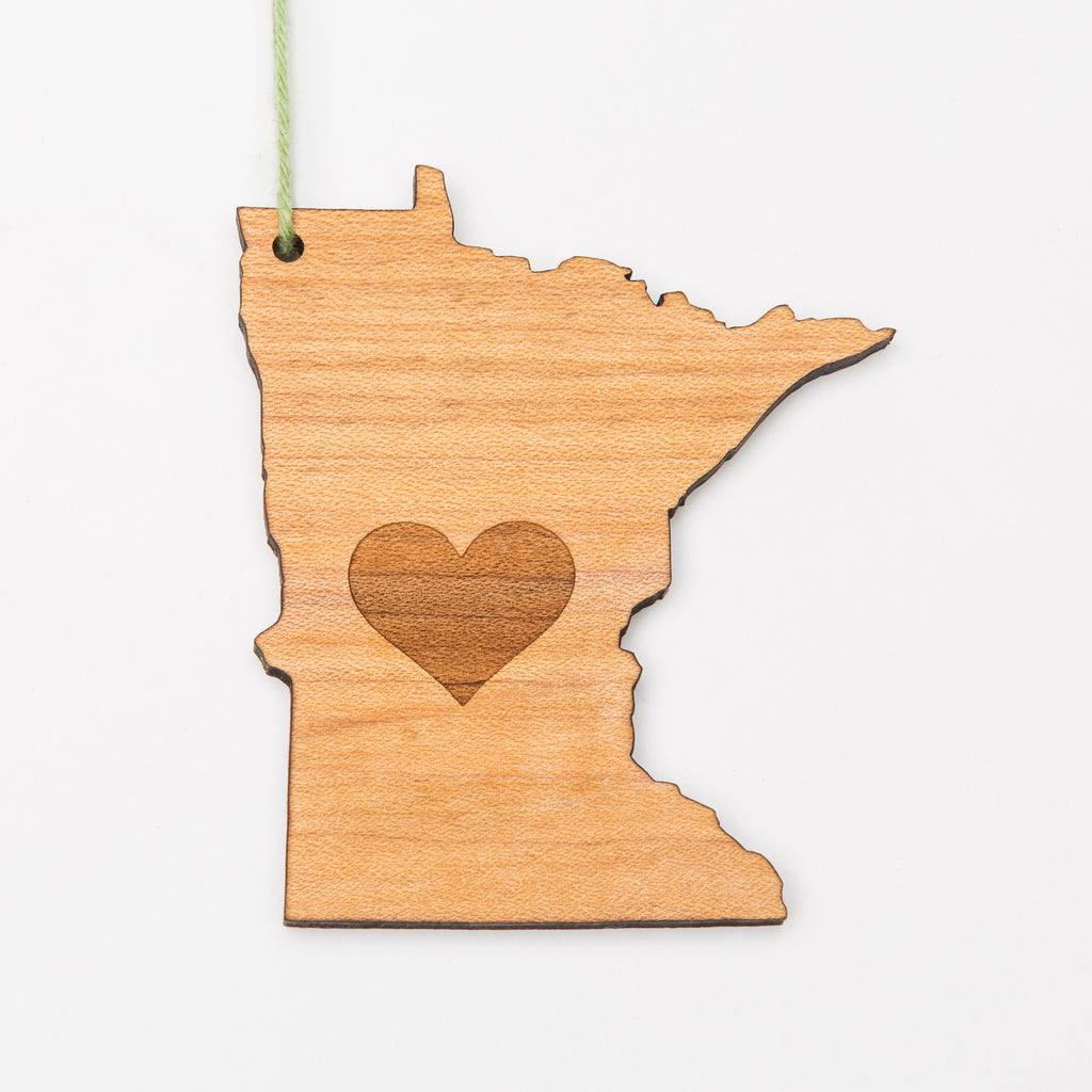 MN Love Minnesota Shaped Wood Ornament or Magnet