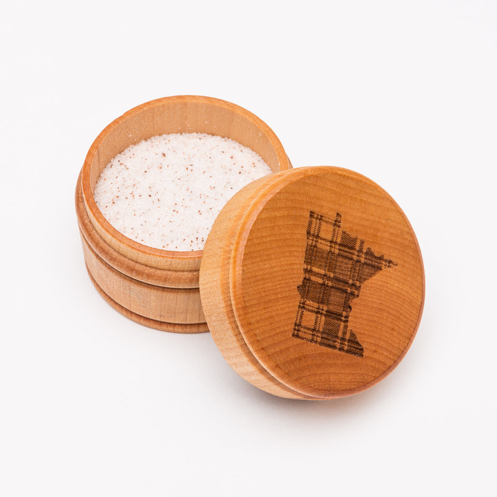 Plaid Minnesota Round Wood Laser Cut Box from Create Laser Arts