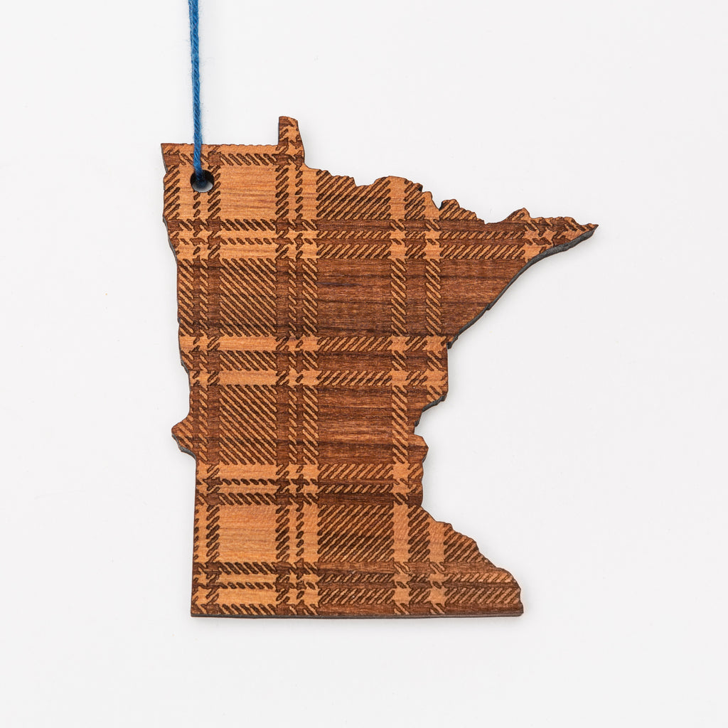 Minnesota plaid laser cut wood ornament