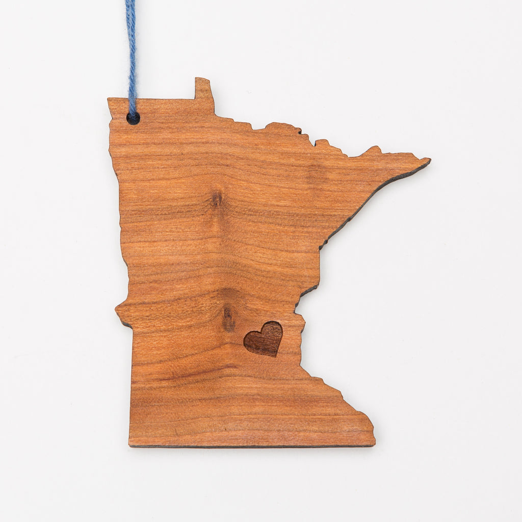 Minneapolis Love Minnesota Shaped Wood Ornament or Magnet