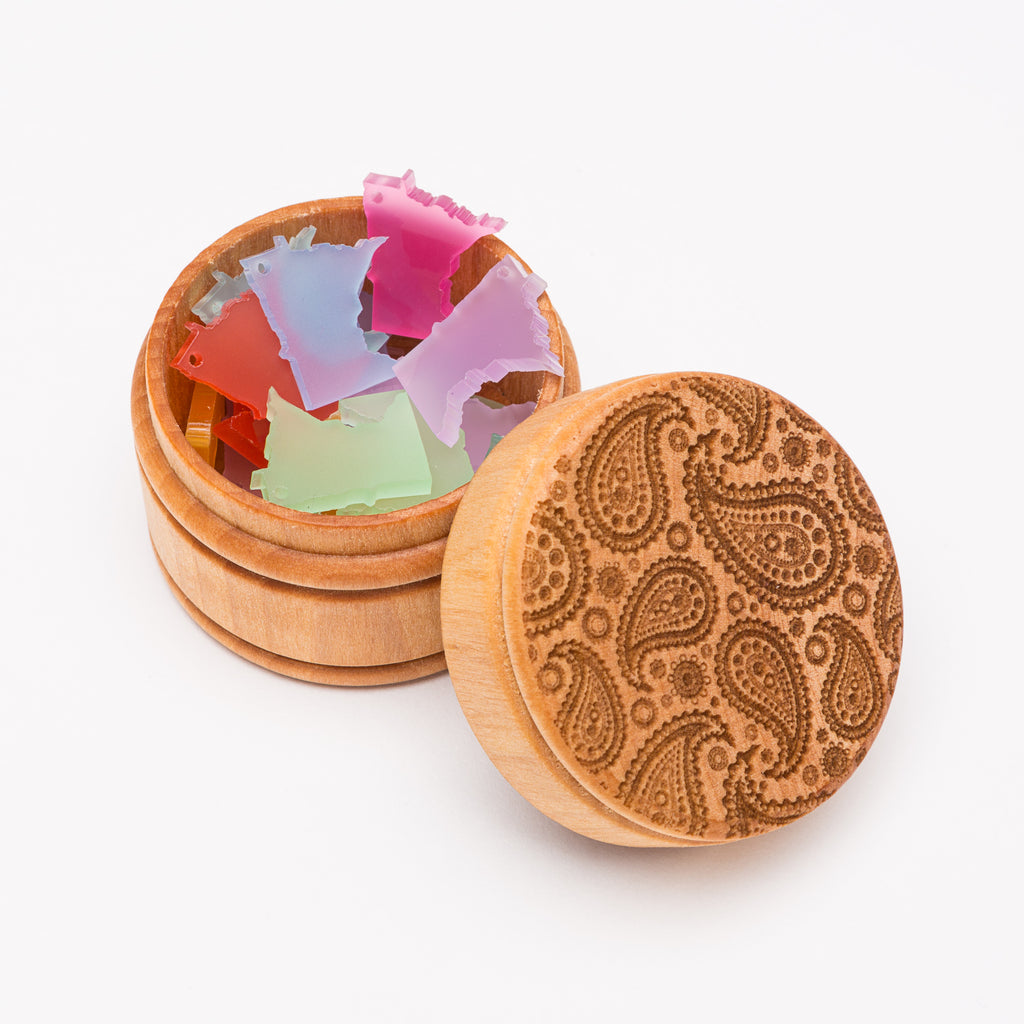 Paisley Round Wood Laser Cut Box from Create Laser Arts