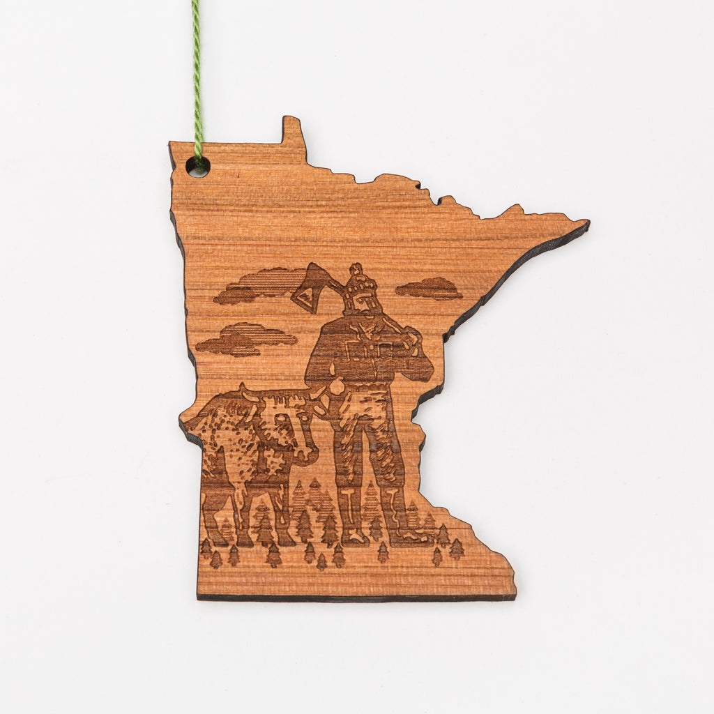 Paul Bunyan laser etched into a Minnesota-shaped wood ornament