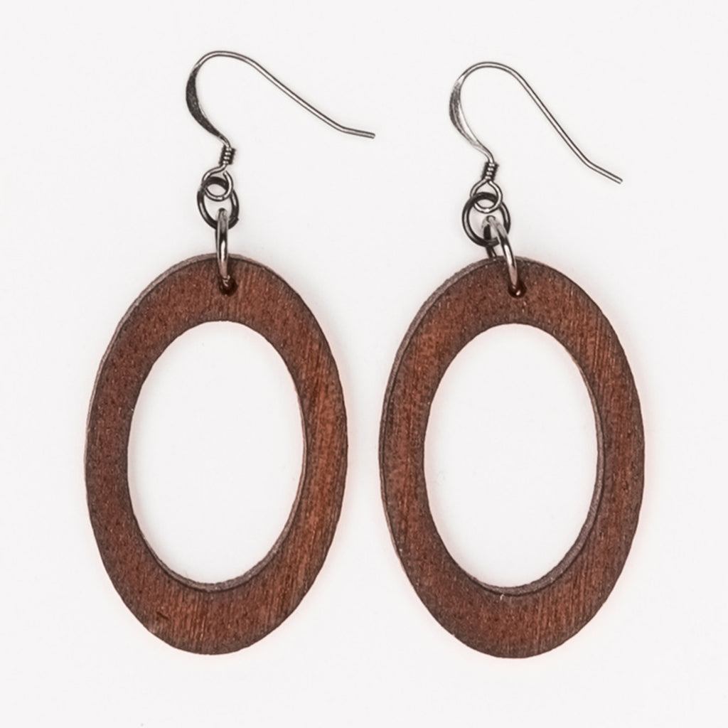 Small oval hoop earrings from Create Laser Arts
