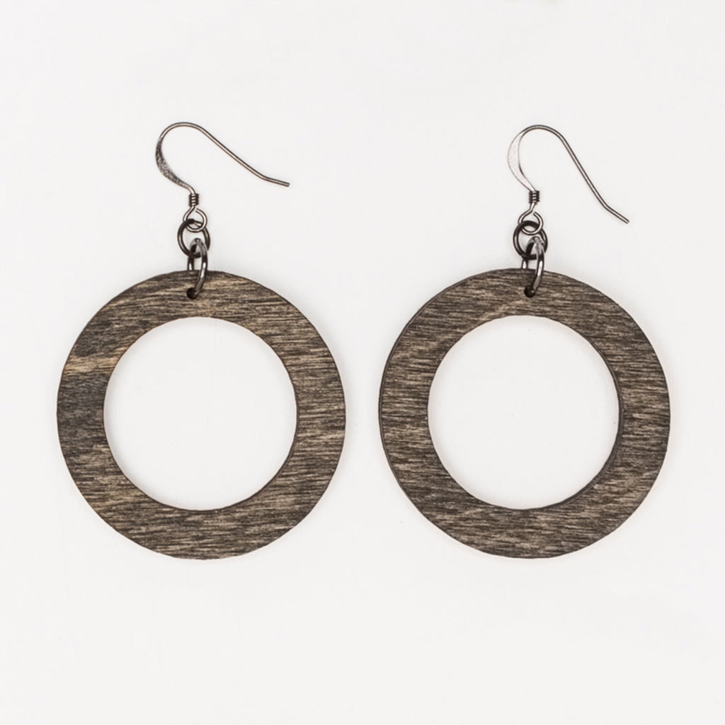 Small round wood hoop earrings from Create Laser Arts