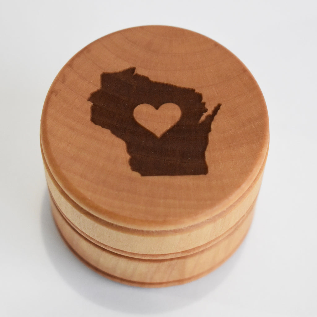 Wisconsin Love Laser Etched Round Wood Box