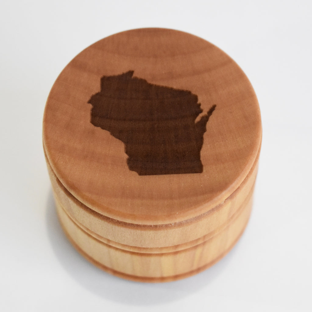 Wisconsin laser etched round wood box