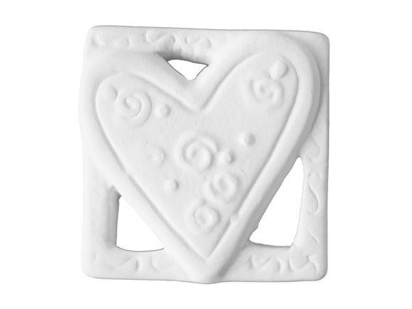 Square Heart Charm