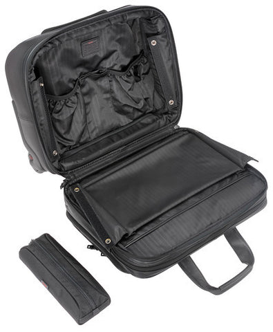 Tumi Alpha Deluxe Wheeled Leather Brief with Laptop Case