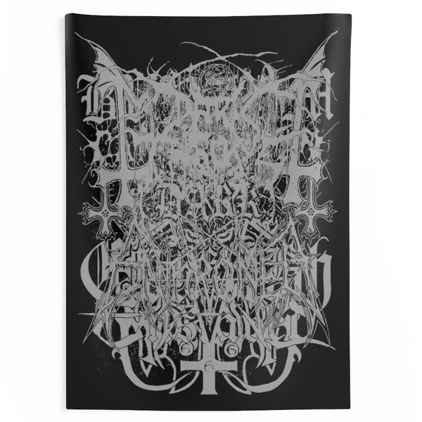 Black Metal Logos Tapestry