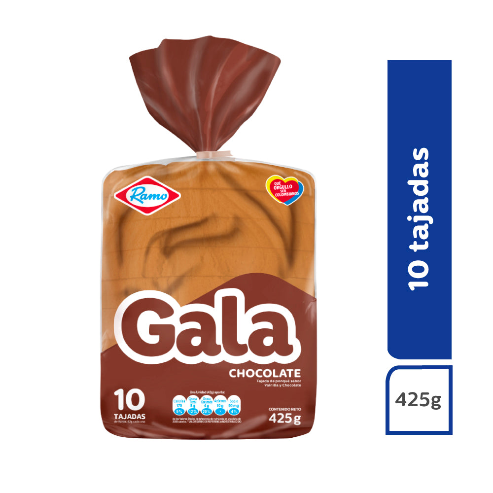 Ponqué GALA bloque chocolate x 425 g